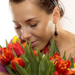 Woman with Colored Tulips — Foto de Stock