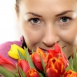 Woman with Colored Tulips — Stok fotoğraf