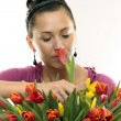 Woman with Colored Tulips — Stockfoto #2471726