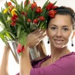 Woman with Colored Tulips — Stock Photo