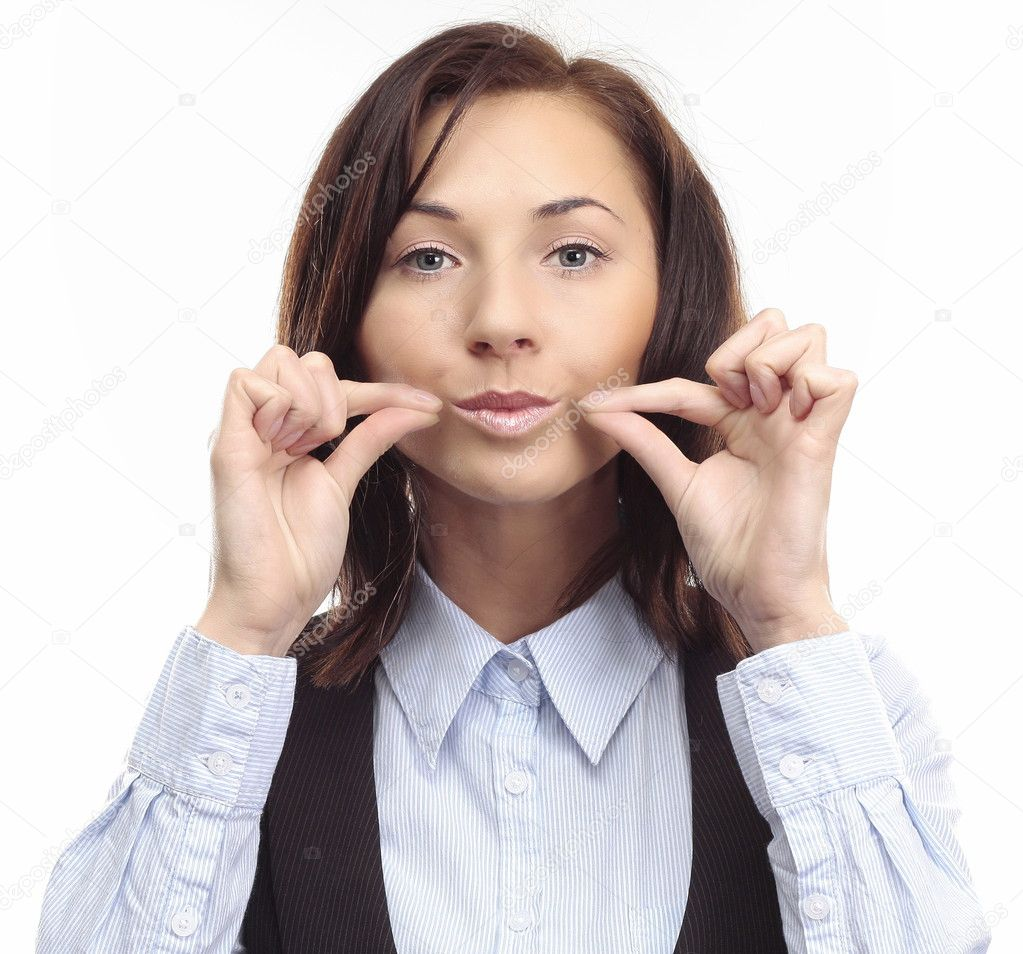 Be Quiet - Young Business Woman shows symbol keep quiet by her hands and face  — Stock Photo #2574488