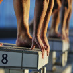 Swimming start — Stock Photo