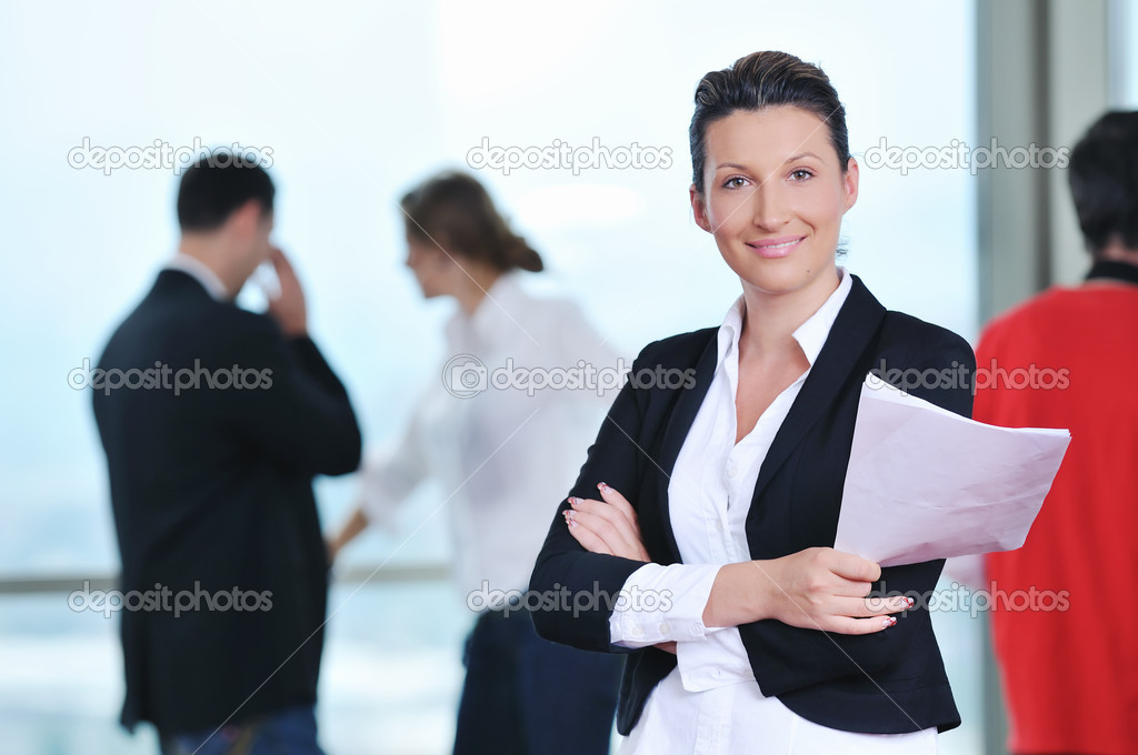 Business group together standing indoor and representing team and teamwork concept — Stock Photo #1616293
