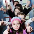 Happy children group in school — Stockfoto
