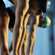 Young swimmmer on swimming start — Stock Photo
