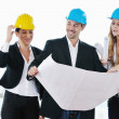 Foto Stock: Young architect team