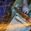 Industry worker sparks — Stockfoto