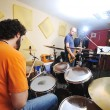 Music band have training in garage — Stock Photo #1677207