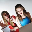 Two young woman student — Foto Stock