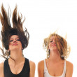 Party woman isolated with wind in hair — Stock Photo #1678015