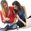 Royalty-Free Stock Photo: Two girl work on laptop