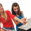 Stock Photo: Two girl work on laptop