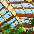 Palm and wooden roof construction — Stock Photo