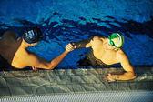 Swimming race winner — Stock Photo