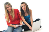Two young woman student — Stock Photo