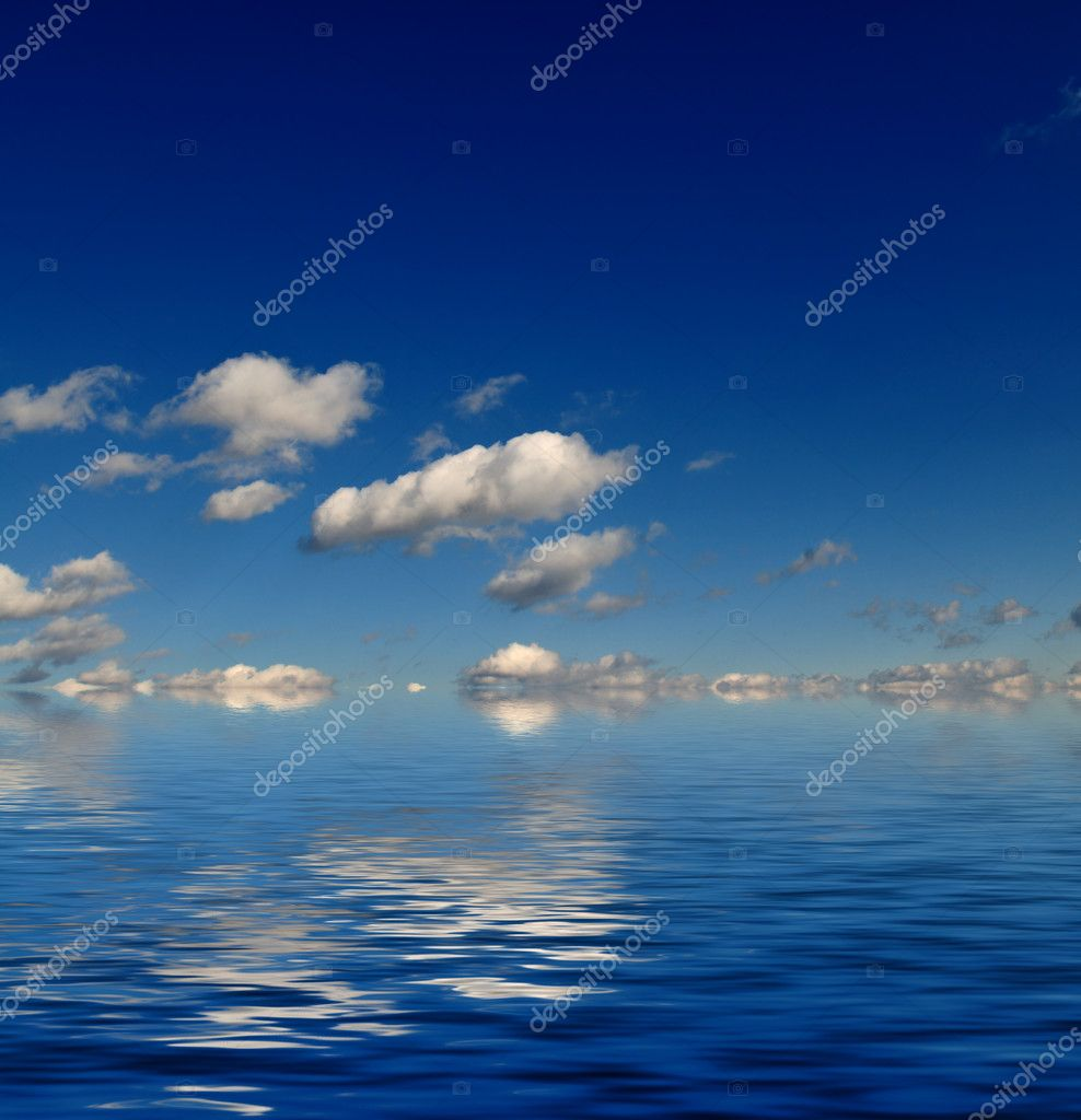 Blue sky with white clouds and abstract water reflection in nature background — Stock Photo #1671062