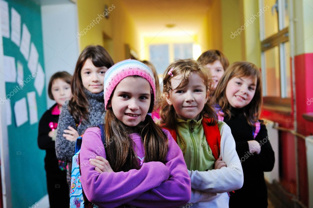 Happy children group in school have fun and learning lessons  Stock Photo #1671514