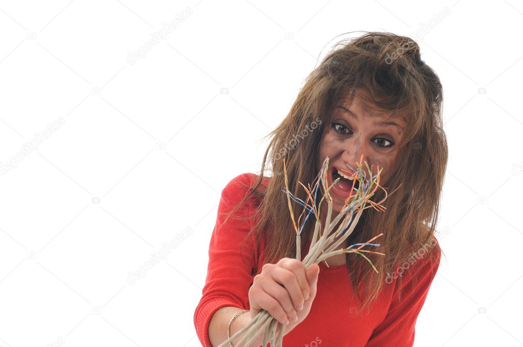 Young woman with dark face electrical explosion shock concept connect — Stock Photo #1678126