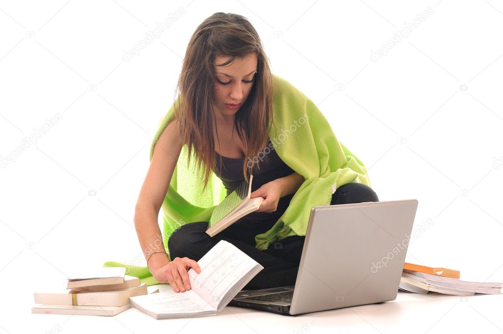 One young teen woman girl work on laptop isolated — Stock Photo #1678152