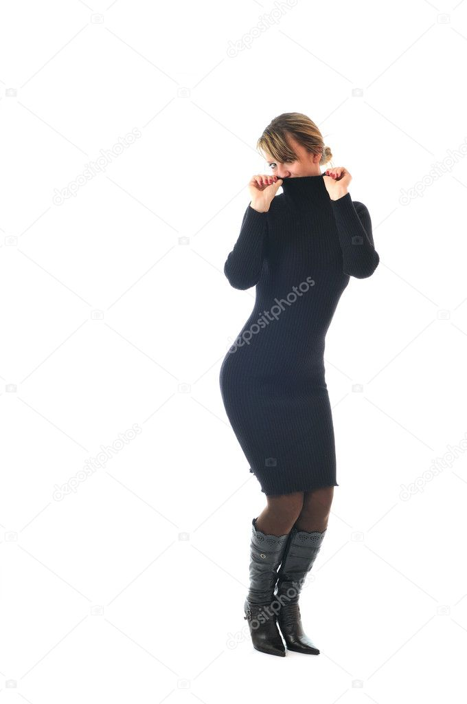 Isolated happy woman in black dress and boots posing — Stock Photo #1678163