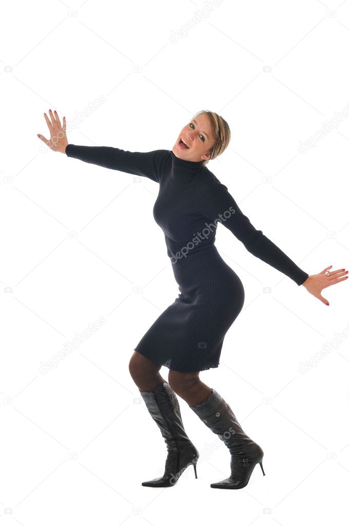 Isolated happy woman in black dress and boots posing — Stock Photo #1678186