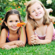 Two happy girls have fun outdoor — Stock Photo