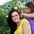 Happy mom and daughter outdoor — Stok fotoğraf