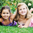 Two happy girls have fun outdoor — Stock Photo #1680293