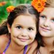 Two happy girls have fun outdoor — Foto Stock