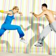 Stock Photo: Fitness personal trainer