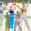 Young adults group in fitness club — Stock Photo #1680671