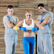 Young adults group in fitness club — Foto Stock
