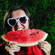 Woman watermelon — Stock Photo