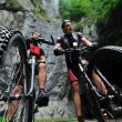 Mount bike man outdoor - Stockfoto