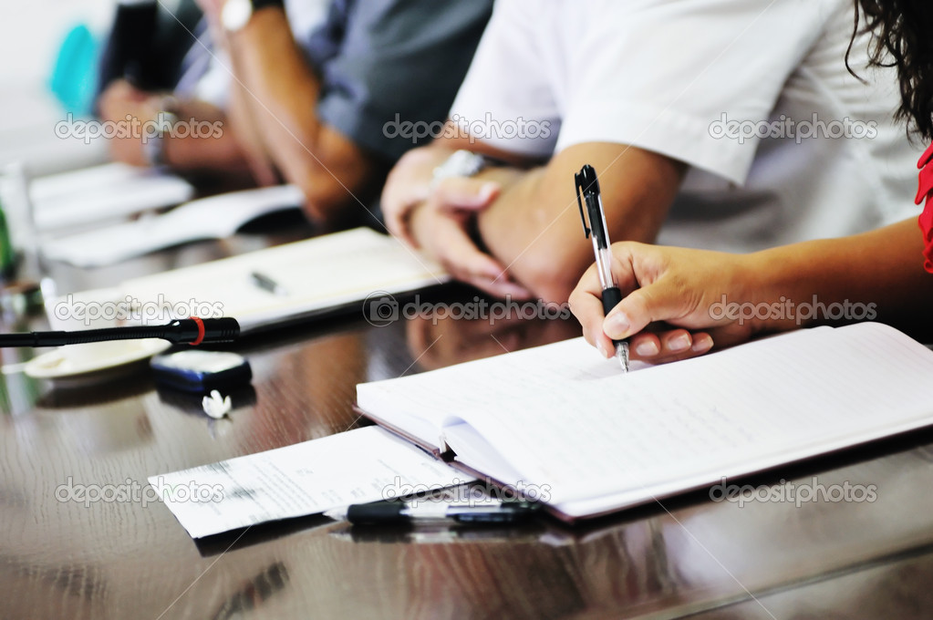 Business beople on meeting conference taking notes and make deal   — Stok fotoğraf #1685508