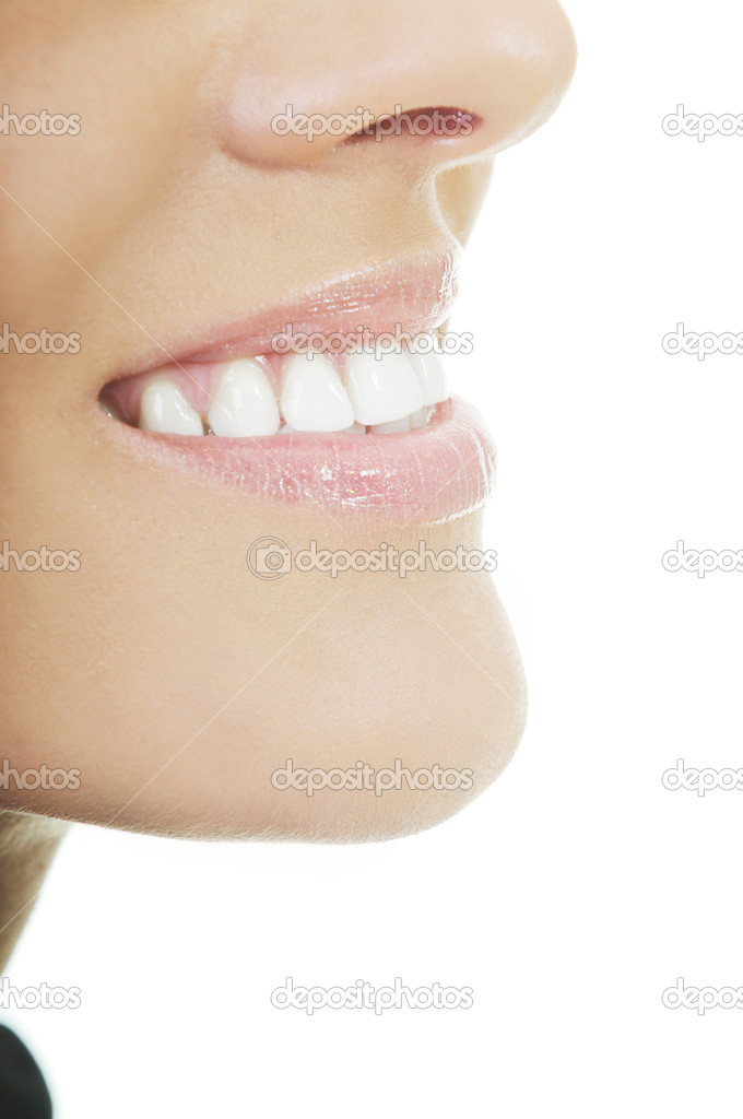 Young woman with white teeth smiling representing healthy lifestyle and teeth concept  Foto Stock #1686748