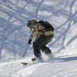 Freestyle snowboarder jump and ride - Foto Stock