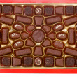 Close-up red box of chocolates — Stock Photo