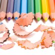 Close-up sharpening a pencils — Stock Photo