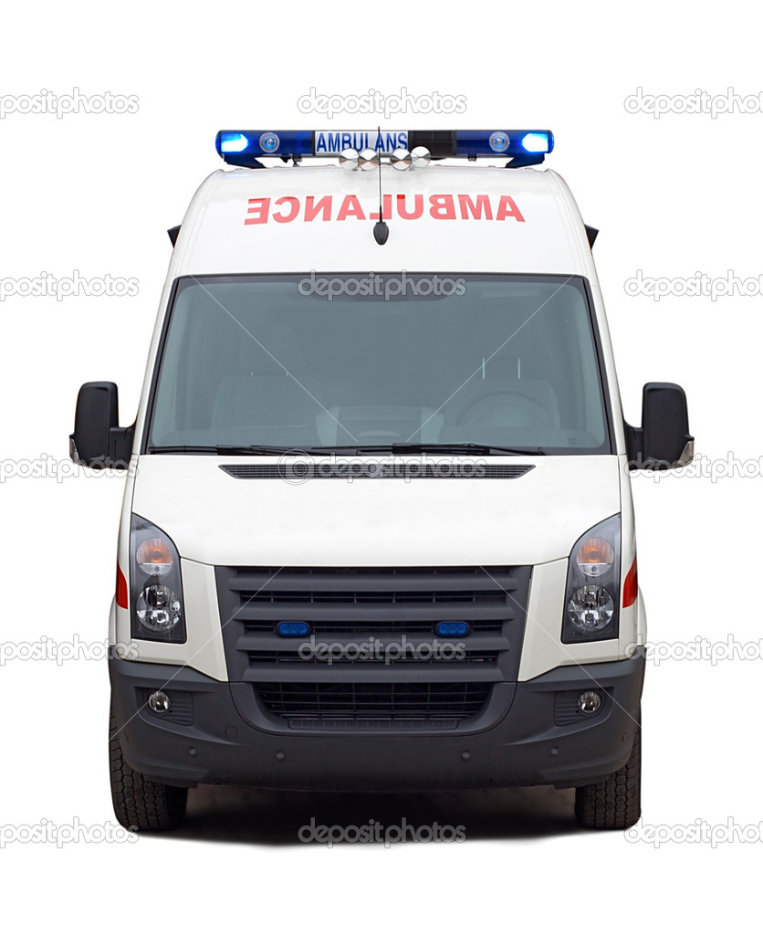 Front view ambulance car, isolated on white — Stock Photo #1694462