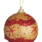 bola de Navidad oro con adorno rojo — Foto de Stock