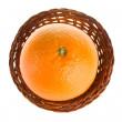 Orange in basket view from above — Stock Photo