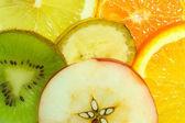 Fruits background, apple on center — Stock Photo