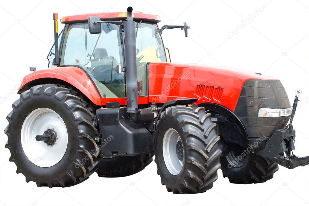 Close-up new red tractor isolated on white — Stock Photo #1715404