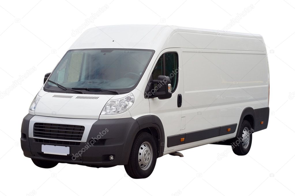 New white lorry van isolated, with blank place for text  Stok fotoraf #1715420