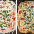 Stock Photo: Pizzbefore and after bake