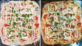 Pizza antes e depois de assar — Fotografia Stock