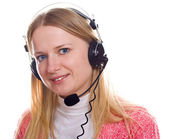 Blonds portrait with head-phones — Stock Photo