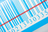 Blue barcode with laser strip — Stock Photo