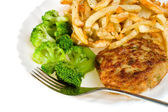 Cutlet with broccoli and potatoes — Stock Photo